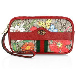 Gucci GG Ophidia Flora Wrist Wallet In Red